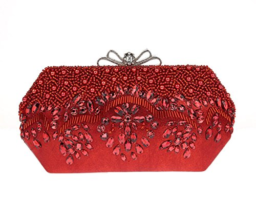[2017 New Style Women's Antique Beaded Party Clutch Vintage Purse Evening Handbag (Red)] (Red Sequin Flapper Handbag)