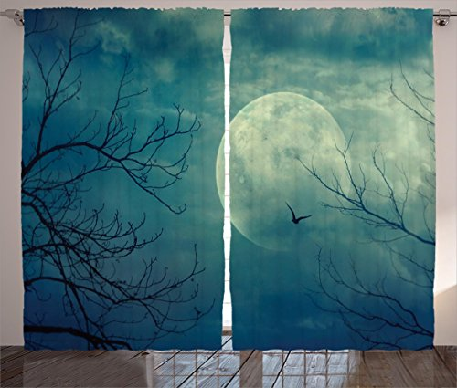 Horror House Decor Curtains by Ambesonne, Halloween with Full Moon in Sky and Dead Tree Branches Evil Haunted Forest , Living Room Bedroom Window Drapes 2 Panel Set, 108 W X 84 L Inches, Blue