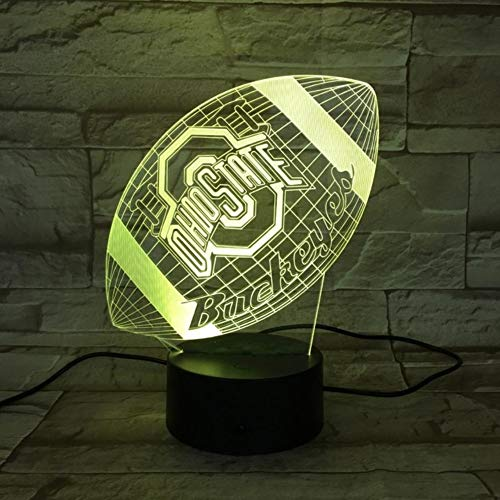 LLWWRR1 Ohio State Buckeyes College Football USB 3D Led Night Light Boy Child Kids Fans Birthday Gifts University Desk Lamp Bedroom Neon