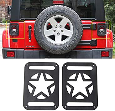 JeCar Jeep Tail Lights Protector Metal Taillight Rear Lamp Cover Guard for 2007-2017 Wrangler JK /& JK Unlimited-Pair Black