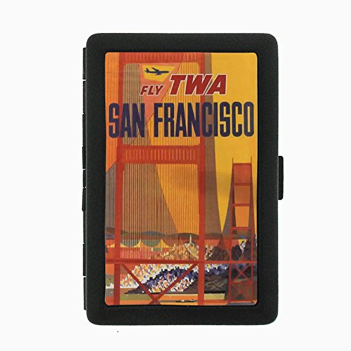 Perfection In Style Black Color Metal Cigarette Case D-099 Fly TWA San Francisco Airlines