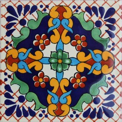 Fine Crafts Imports 6x6 4 pcs Macotera Talavera Mexican Tile (Clay Tile Spanish)