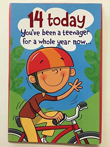 Feliz cumpleaños 14th Tarjeta de felicitaciones: Amazon.es ...