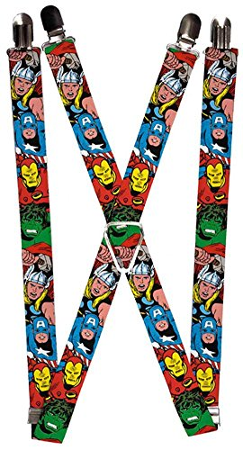 [Buckle-Down MARVEL COMICS  Suspenders - Avengers Superheroes CLOSE-UP Accessory, -Multi-Colored, One] (Avengers Superhero)