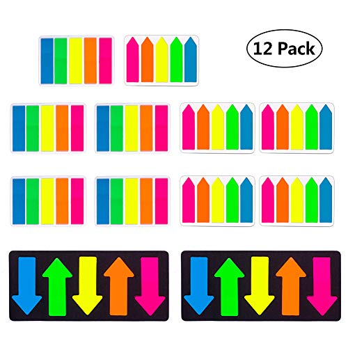 TOPHOUSE Page Marker Colored Fluorescent Sticky Notes, Index Tabs Flags,1200 Pieces,12 ()