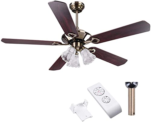 Ampersand Shops Frosted Glass Classic Antique Copper Ceiling Fan and Light 52″