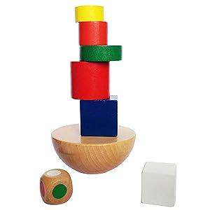 VANKER Educación Equilibrio de apilado de madera de juguete Juego de los niños del bebé de Formación Temprana Hemisferio