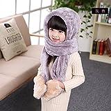 子供用 ウサギデザイン かわいい 多機能 帽子 マフラー 手袋 耳覆い機能 スカーフ グローブ ふわふわ 防寒対策 キッズ 女の子対応 ワンピース (グレー)