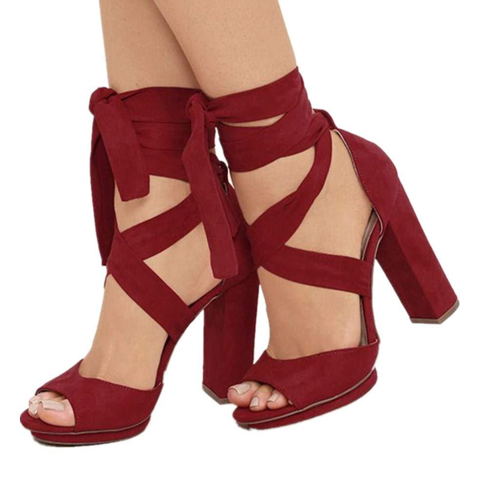 Rouge 38 UE SPONSOKT Europe et les états-Unis Mme Scrub 10Cn Mode Sauvage Sexy Bouche Peu Profonde élégante Grande Taille Sandales à Talons Hauts Rouge   44 de l'UE