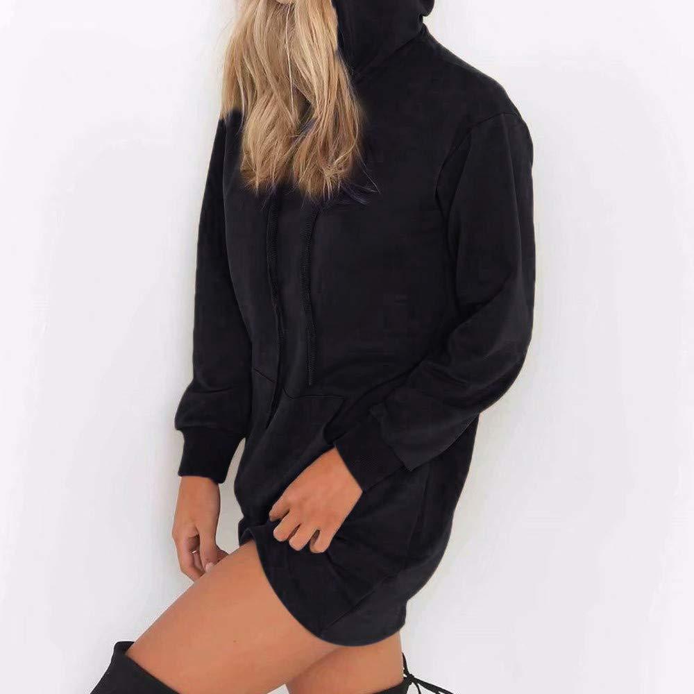 Clearance SFE Women Solid Hoodies Dress Long Hooded Pullover Sweatshirt Tops Winter
