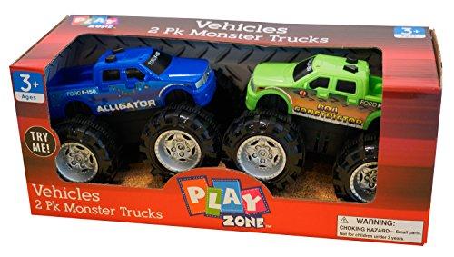 Blue Monster Truck (Play Zone Vehicles 2 Pk. Monster Trucks, Blue & Green colors)