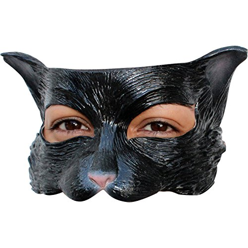 Ghoulish Productions Kitty Black Latex Half Mask Adult Accessory ()