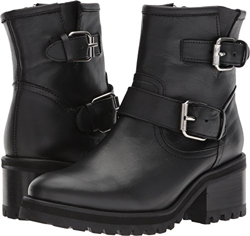Steve Madden Women's Gain Motorcycle Boot, Black Leather, 8 M US Black Leather Motorcycle Boots