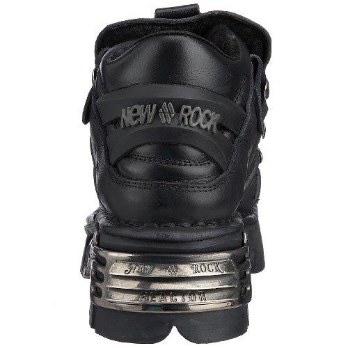 New Rock - Botas de cuero para mujer Negro