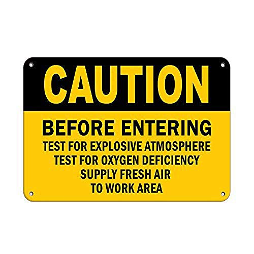 Oygen Supply Fresh Airのテストに入る前の注意 金属板ブリキ看板注意サイン情報サイン金属安全サイン警告サイン表示パネル