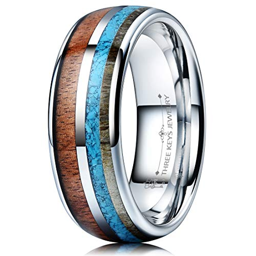 THREE KEYS JEWELRY 8mm Silver Tungsten Wedding Ring with Real Koa Wood Antler Turquoise Inlay Dome Hunting Ring Wedding Band Engagement Ring Size 13.5