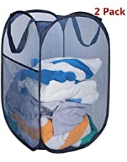 HOMEIDEAS Pack of 2 Foldable Pop-Up Mesh Laundry Hamper Basket with Side Pocket, Durable & Reinforced Handles