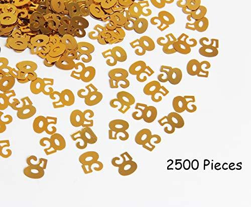 Hapy Shop 2500 Pieces 50th Birthday Confetti,50th Anniversary Confetti Perfect 50th Party Confetti, Metallic Foil Confetti for Table Decorations,Gold