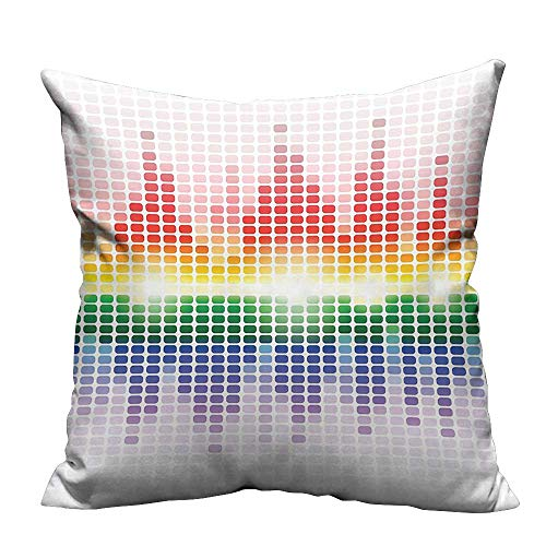 YouXianHome Home Decor Pillowcase Rainbow Like Digital Equalizer Amplifier Equipment Club Durable Polyester Fabric(Double-Sided Printing) 24x24 inch