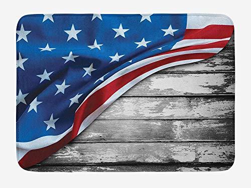 tgyew American Flag Bath Mat, Close Up Design Flag Over Antique Rustic...