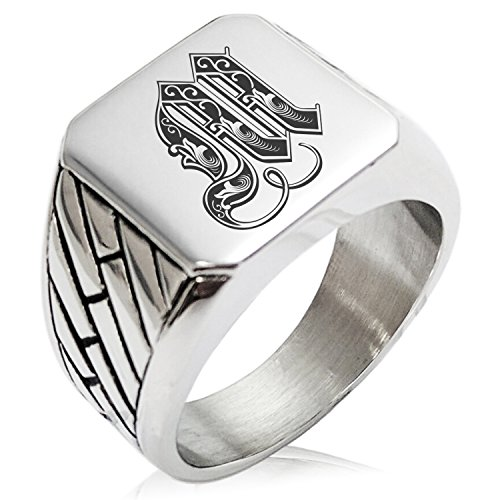 (Two-Tone Stainless Steel Letter M Alphabet Initial Royal Monogram Engraved Geometric Pattern Biker Style Polished Ring, Size 10)