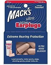 Macks Safesound Ultra - Soft foam earplugs - 10 Pairs - Free Travel Case