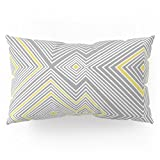 Society6 White, Yellow, And Gray Lines - Illusion Pillow Sham King (20'' x 36'') Set of 2