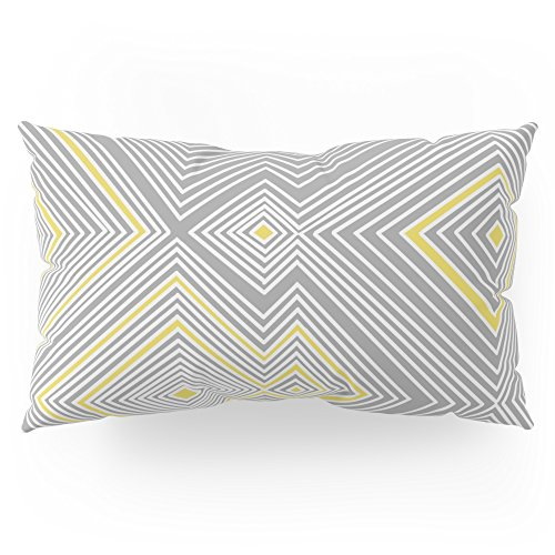 Society6 White, Yellow, And Gray Lines - Illusion Pillow Sham King (20'' x 36'') Set of 2 by Society6