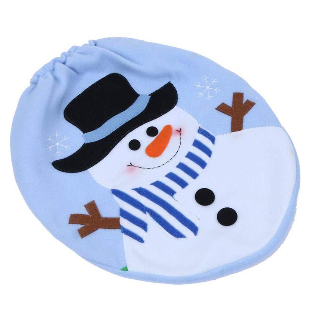 3pcs Weihnachten Badezimmer Set Cartoon Snowman Elk Muster Toilettensitzbezug Wc Sitzbezug Set Home Dekoration Weihnachtsdeko Yukio