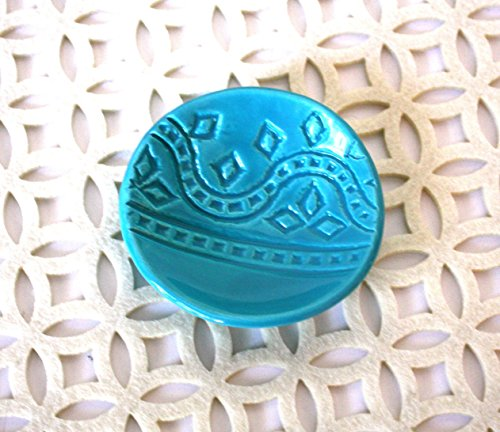 Turquoise Ring Dish – Handmade Jewelry Bowl – Bohemian / Boho dish with geometric pattern and light aqua glaze