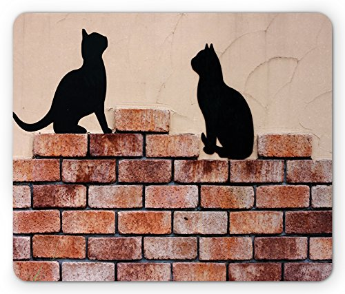 Cat Mouse Pad by Lunarable, Black Kittens on Red Brick Wall City Animals Urban Silhouettes Grunge Town Artistic Print, Standard Size Rectangle Non-Slip Rubber Mousepad, Peach (Brick Red Station)