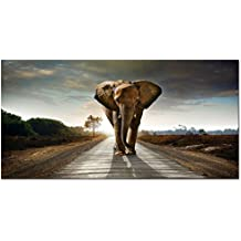 Wieco Art - Elephant Canvas Paintings Wall Art One piece Modern Large Stretched and Framed Landscape Animals Pictures on Giclee Canvas Prints Artwork Decor for Living Room Bedroom Home Decorations L