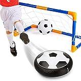 Hover Toys Soccer Ball Electric Air Power LED Light Football Disk Goal Gate Set for Indoor Outdoor Sport Training Kids Parents Game(Soccer Gate Set)