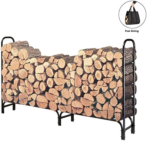 DOEWORKS 5 Feet Medium Heavy Duty Outdoor Firewood Racks Steel Wood Storage Log Rack Holder