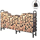 DOEWORKS 8 Feet Large Heavy Duty Outdoor Firewood Racks Steel Wood Indoor Storage Log Rack Holder