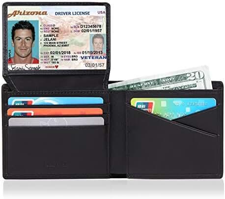 RFID Wallets for Men Genuine Leather Bifold Slim Front Pocket Wallet Credit Card