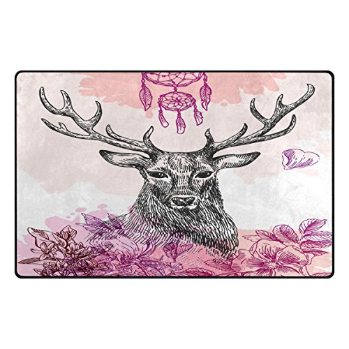 Hand Painted Moose - TSWEETHOME Doormat Front Door Mats Outdoor Inside Mats Personalized Welcome Mats with Hand Painted Black Moose for Chair Mat and Decorative Floor Mat for Office and Home (31 x 20 in & 60 x 39 in)