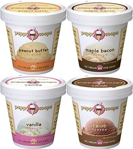 Puppy Scoops Dog Ice Cream Mix – Variety 4 Pack 4 Pints of Ice Cream for Dogs