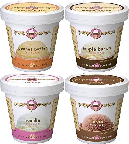 Puppy Scoops Dog Ice Cream Mix - Variety 4 Pack (4 Pints of Ice Cream for Dogs) (Ice Dogs Cream)