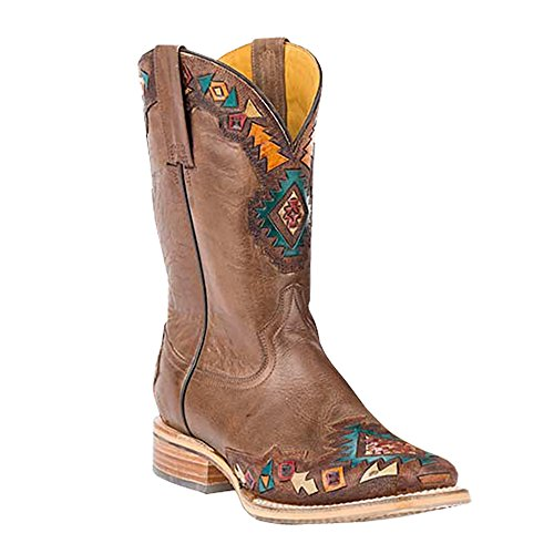 Tin Haul Shoes Women's SUNKA WAKAN Western Boot, tan, 8.5 D US - Tooled Wingtip