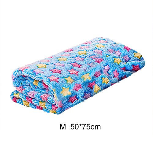 Pet Dog Cat Blanket Soft Warm Coral Fleece Bed Sofa Cover Sleeping Blanket with Star Pattern for Cats Dogs(Blue M)