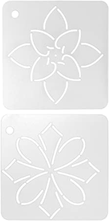 2 Pieces Semi-Transparent Flower Pattern Plastic Drawing Quilting Stencil for DIY Crafts