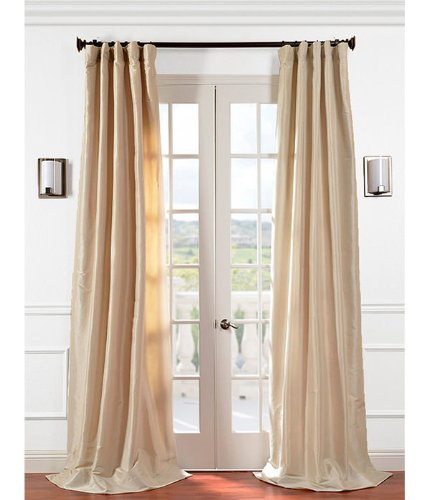 Half Price Drapes PTCH-JTSP130907-84 Faux Silk Taffeta Curtain, Antique Beige