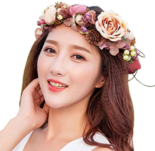 Vivivalue Pinecone Leaf Berry Flower Headband Hair Wreath Halo Floral Garland Crown Headpiece with Ribbon Festival Wedding Brown ()