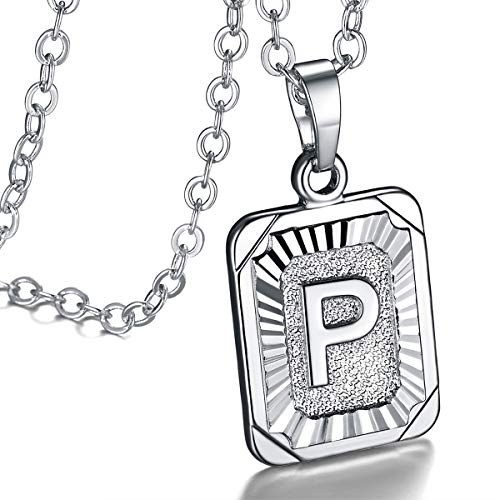 FOCALOOK Monogram Necklace A-Z 26 Letters Pendants Platinum Plated Square Script Initial Jewelry with Stainless Steel 22 Inch Chain, Capital Alphabet Necklaces for Women Girls (Letter P)