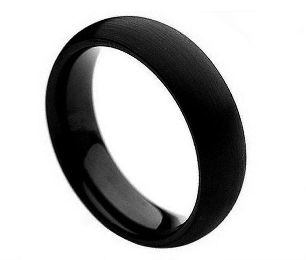6mm Tungsten Carbide Black Enamel Domed Brushed Finish Wedding Band Ring For Men Or Ladies