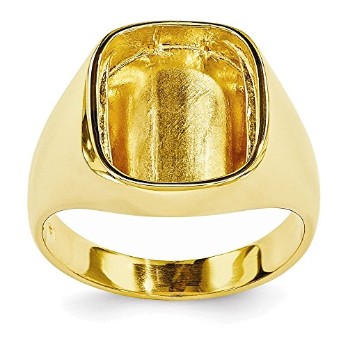 Mens Ring Mounting (14k Rounded Square Mens Diamond & Onyx Ring Mounting)