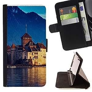 For Sony Xperia Z1 L39 Case , Lago Ginebra Suiza- la tarjeta de Crédito Slots PU Funda de cuero Monedero caso cubierta de piel