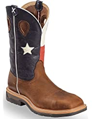 Twisted X Mens Lite Texas Flag Pull-On Work Boot Steel Toe Brown 9.5 D(M) US