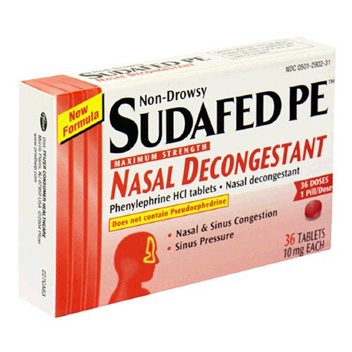 Sudafed PE, Maximum Strength Nasal Decongestant, Phenylephrine HCl tablets (36ct Tablets)